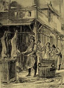 fine XIX secolo, manifattura delle corde di budello (per cortesia di Frank Smith,UK)
