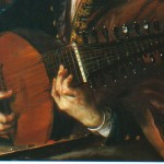 Joahn Kupezky (1667-1740); portrait of a luteplayer. In the original, the last bass string seem to be an open wound type