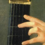 G.B. Forqueray, 1750 ca: detail close and open wound strings